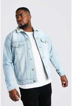 Washed blue Big And Tall Borg Lined Denim Jacket