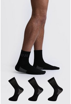 Black 3 Pack MAN Dash Arch Support Quarter Sock