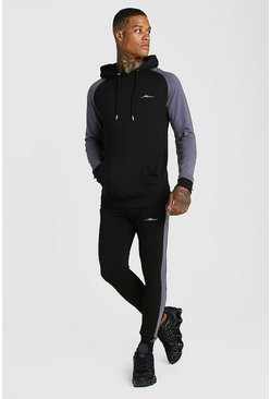 Mens Black MAN Signature Muscle Fit Contrast Sleeve Tracksuit