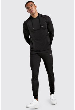 MAN Muscle Fit Poly Hooded Tracksuit With Tape, Black