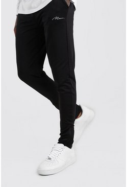 Black MAN Signature Poly Skinny Fit Jogger With Zips