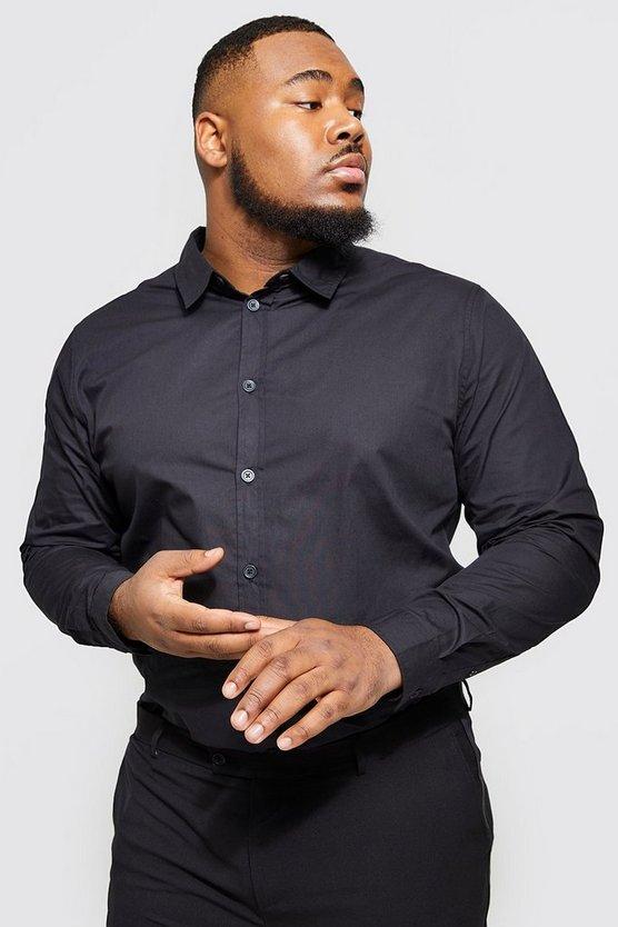 big and tall long sleeve cotton poplin shirt boohooman. Black Bedroom Furniture Sets. Home Design Ideas