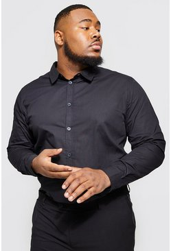 Mens Black Big And Tall Long Sleeve Cotton Poplin Shirt