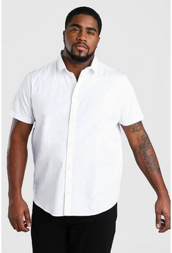 Big And Tall Short Sleeve Cotton Poplin Shirt, White
