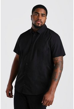 Mens Black Big And Tall Short Sleeve Cotton Poplin Shirt