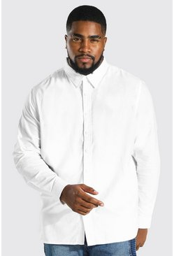 Mens White Big And Tall Long Sleeve Oxford Shirt