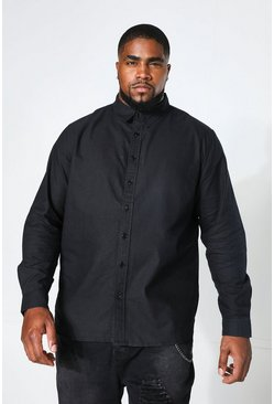 Big And Tall Long Sleeve Oxford Shirt, Black