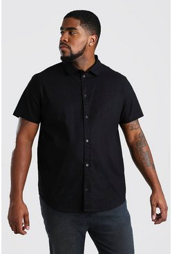 Black Big And Tall Short Sleeve Oxford Shirt