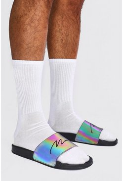 Black MAN Script Rainbow Reflective Sliders