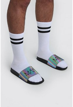 Black MAN Print Rainbow Reflective Sliders