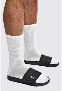 Black MAN Sport Perforated Sliders