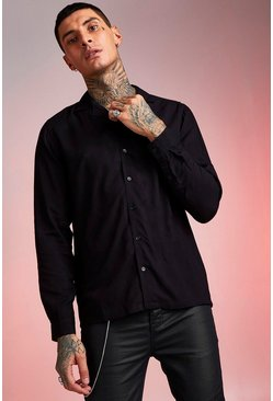 Black Long Sleeve Revere Collar Viscose Shirt