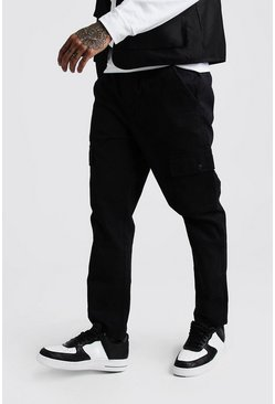 Mens Black Twill Cargo Trousers