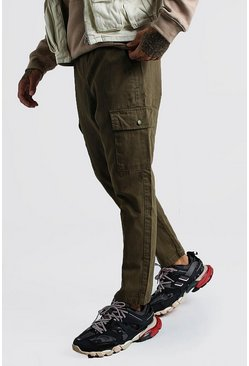 Mens Khaki Twill Cargo Trousers