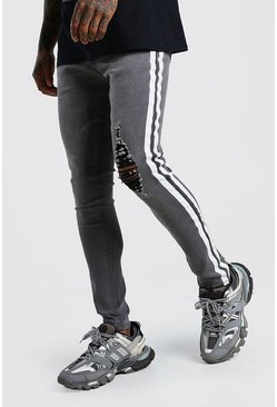 Grey Super Skinny Distressed Jean With Painted Stripe