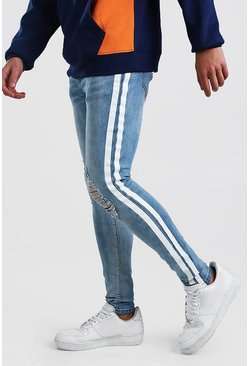 Light blue Super Skinny Distressed Jean With Painted Stripe