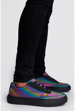 Rainbow Reflective Lace Up Trainer, Multi