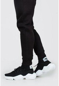 Black Heel Tab Chunky Sock Sneaker