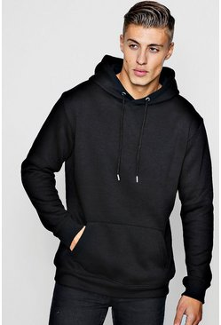 Mens Black Longline Over The Head Hoodie