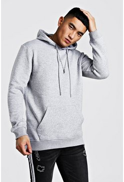 Mens Grey Longline Over The Head Hoodie