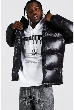 Mens Black High Shine Hooded Puffer Jacket