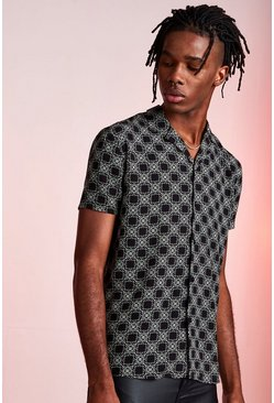 Mens Black Revere Collar Short Sleeve Printed Viscose Shirt