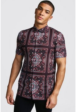 Mens Burgundy Short Sleeve Muscle Fit Bandana Print Shirt