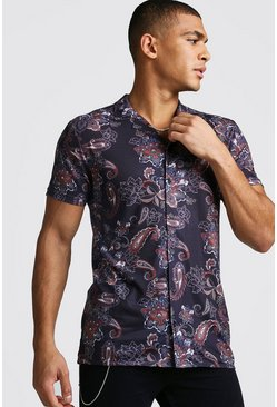 Mens Black Revere Collar Muscle Fit Paisley Print Shirt