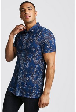 Navy Short Sleeve Muscle Fit Paisley Print Shirt