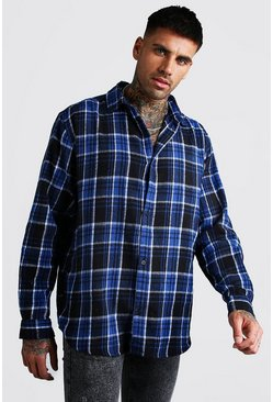 Long Sleeve Oversized Brushed Flannel Check Shirt, Blue