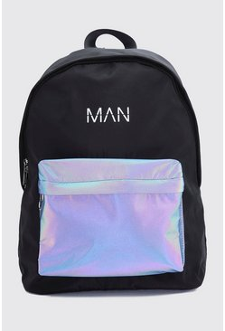 Black Reflective Pocket MAN Print Backpack