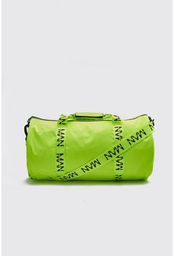 Neon-yellow MAN Printed Strap Barrel Bag