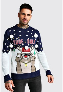 Mens Navy 3D Rude Dolf Christmas Jumper