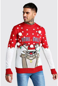 Mens Red 3D Rude Dolf Christmas Jumper