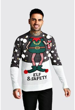 Mens Charcoal Elf & Safety Christmas Jumper