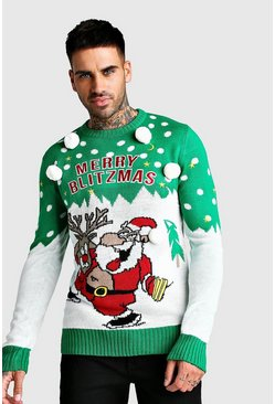 Merry Blitzmas Christmas Jumper, Green, HOMMES