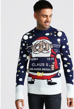 Mens Navy 3D Mug Shot Claus Christmas Jumper