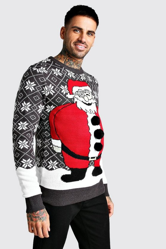 Mens Charcoal 3D Santa Fairisle Christmas Jumper