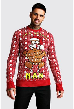 Im A Breast Man Christmas Jumper, Red, HOMMES