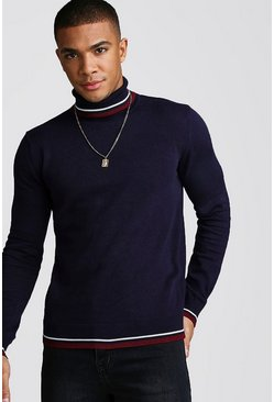 Mens Navy Roll Neck Jumper With Tipping