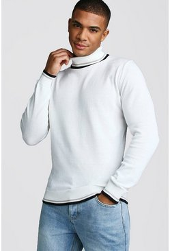 Mens White Roll Neck Jumper With Tipping