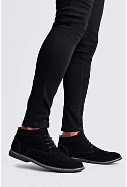 Mens Black Real Suede Desert Boots