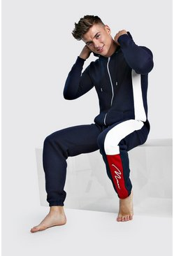 Navy MAN Script Colour Block Onesie