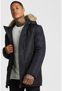 Mens Black Zip Through Faux Fur Hood Parka
