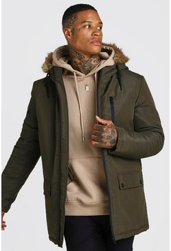 Khaki Zip Through Faux Fur Hood Parka