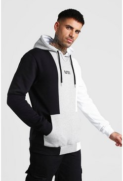 Grey Original MAN Colour Block Panelled Hoodie