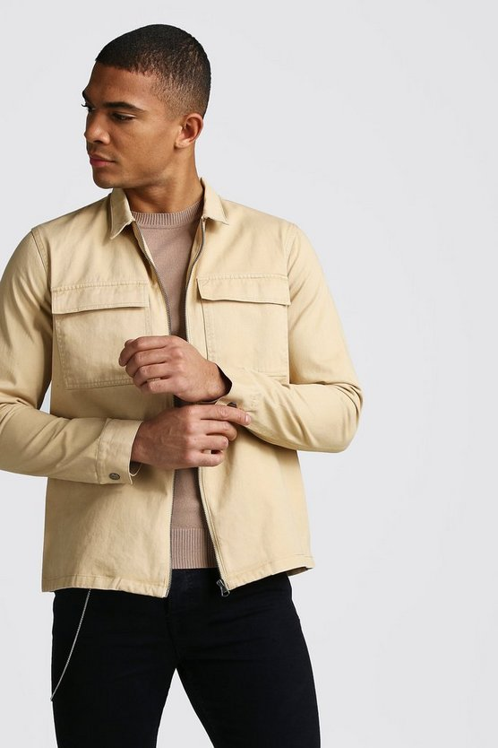 Mens Tan Long Sleeve Zip Through Twill Pocket Overshirt