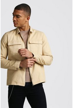 Tan Long Sleeve Zip Through Twill Pocket Overshirt