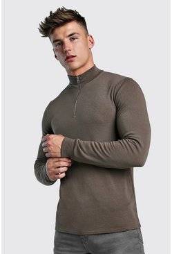 Khaki Half Zip Funnel Neck Jumper