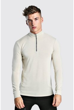 Ecru Half Zip Funnel Neck Jumper